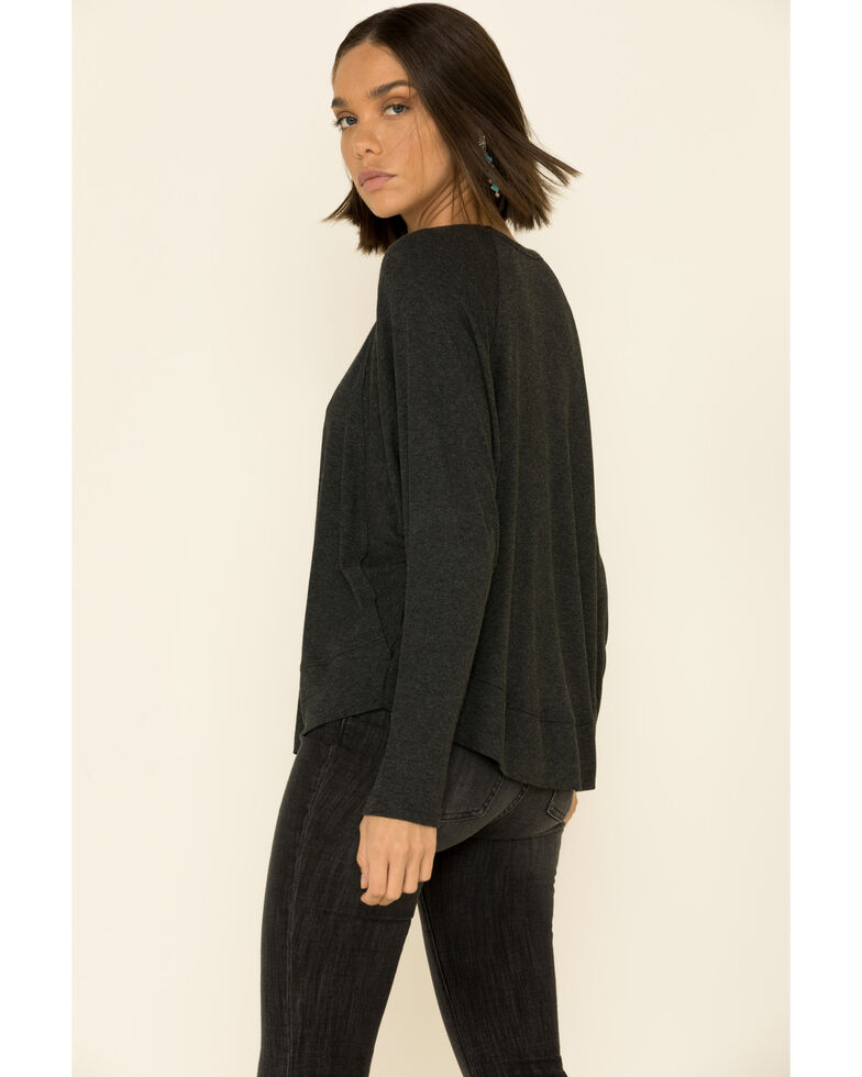 Angie Women's Heather Rib Slouchy Knit Long Sleeve Top , Charcoal, hi-res