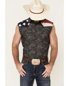 Cody James Men's Camo Armed Forces Bubba Sleeveless Snap Western Shirt , Navy, hi-res