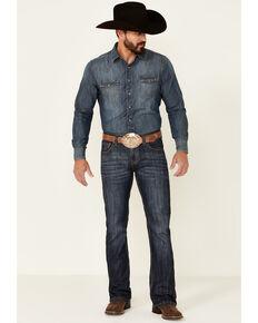 Rock & Roll Denim Men's Pistol Dark Vintage Wash Regular Bootcut Jeans , Blue, hi-res