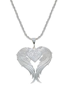 Montana Silversmiths Silver Winged Heart Necklace, Silver, hi-res