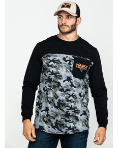 Hawx Men's Black Camo Pocket Graphic Long Sleeve Work T-Shirt , Black, hi-res