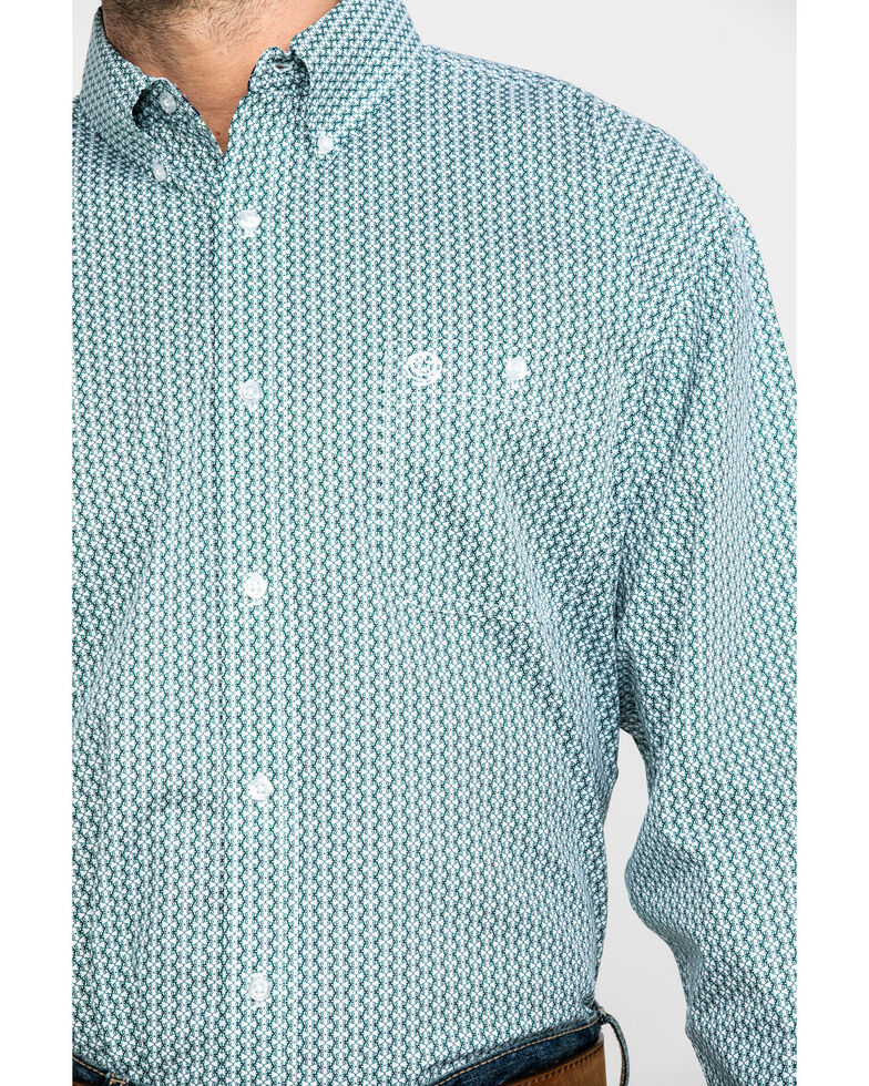George Strait by Wrangler Men's Green Geo Print Long Sleeve Western Shirt , Green, hi-res