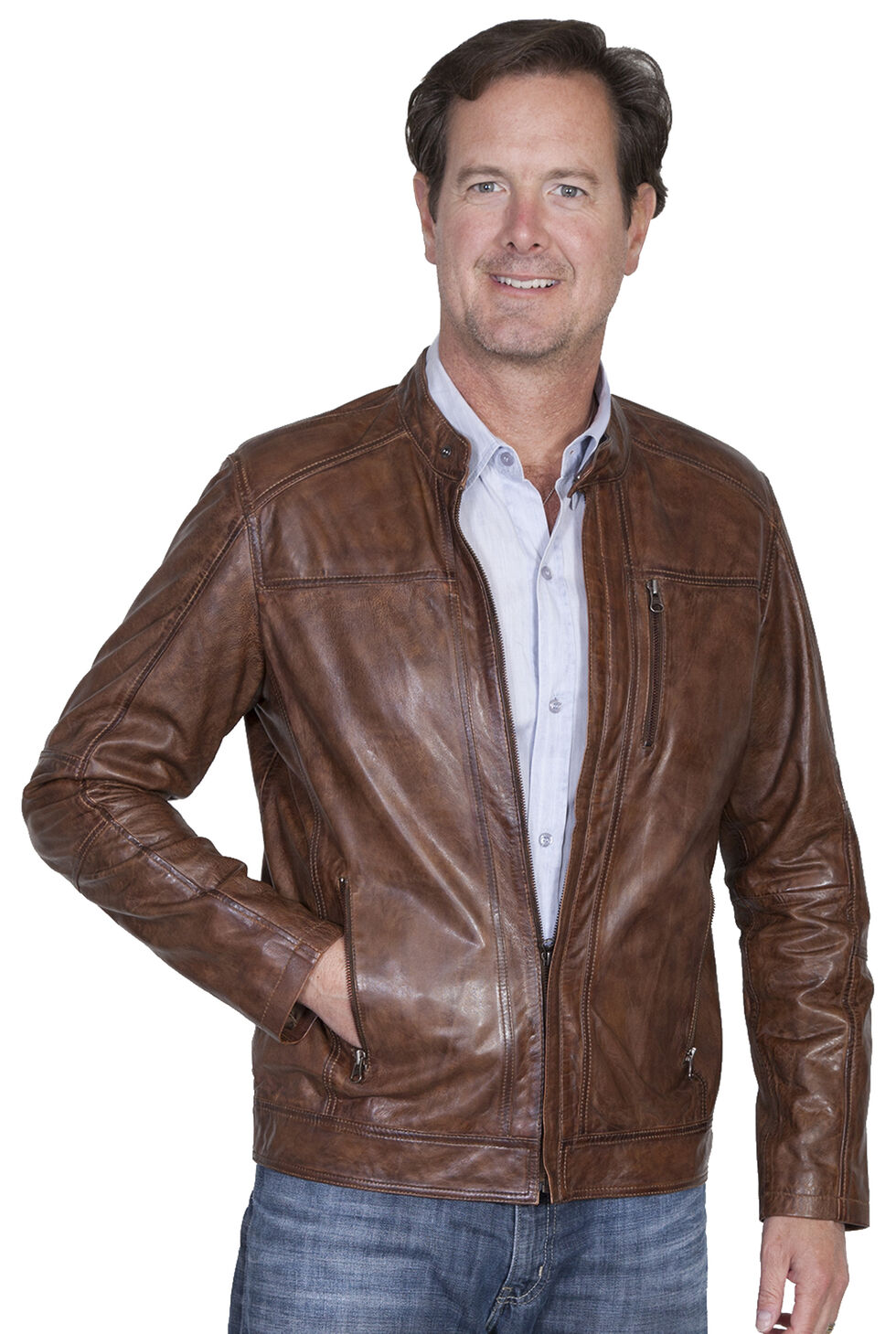 Scully Men's Leather Jacket, Brown, hi-res