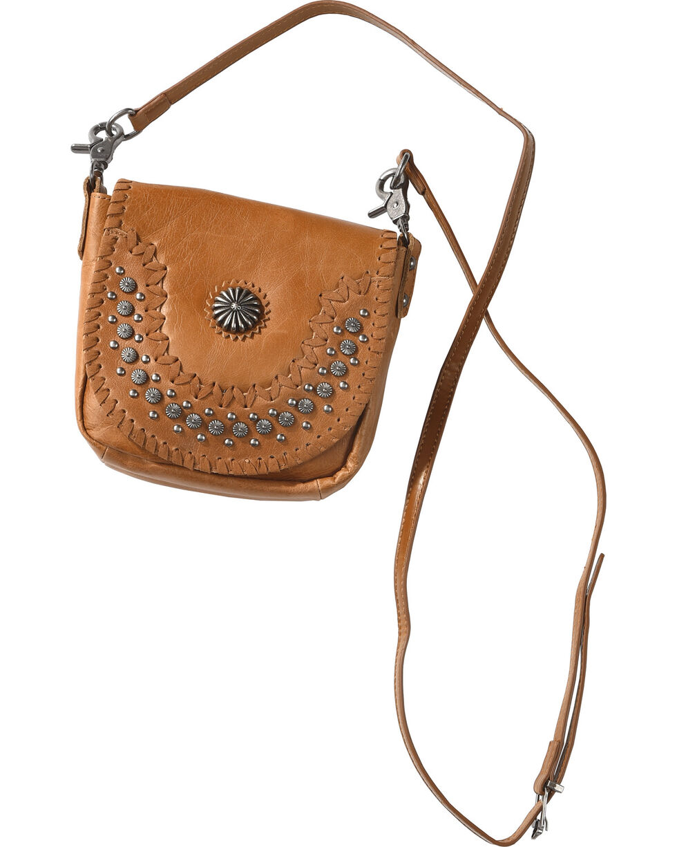 Montana West Women's Brown Patina Stud Leather Crossbody Bag , Brown, hi-res