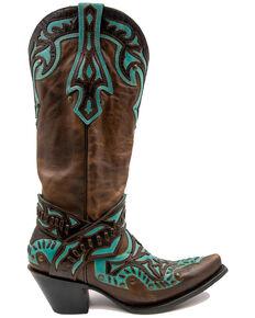 Black Star Women's San Angelo Western Boots - Snip Toe, Chocolate, hi-res