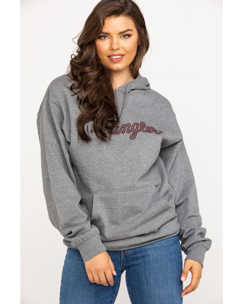 Wrangler Women's Grey Rope Logo Hoodie, Grey, hi-res