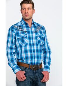 Ely Walker Men's Retro Plaid Embroidered Long Sleeve Western Shirt , Teal, hi-res