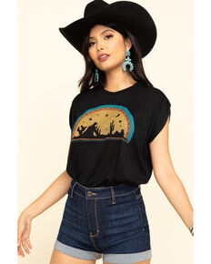 Wondery Women's Desert Drinkin Cowboy Graphic Short Sleeve Tee , Black, hi-res
