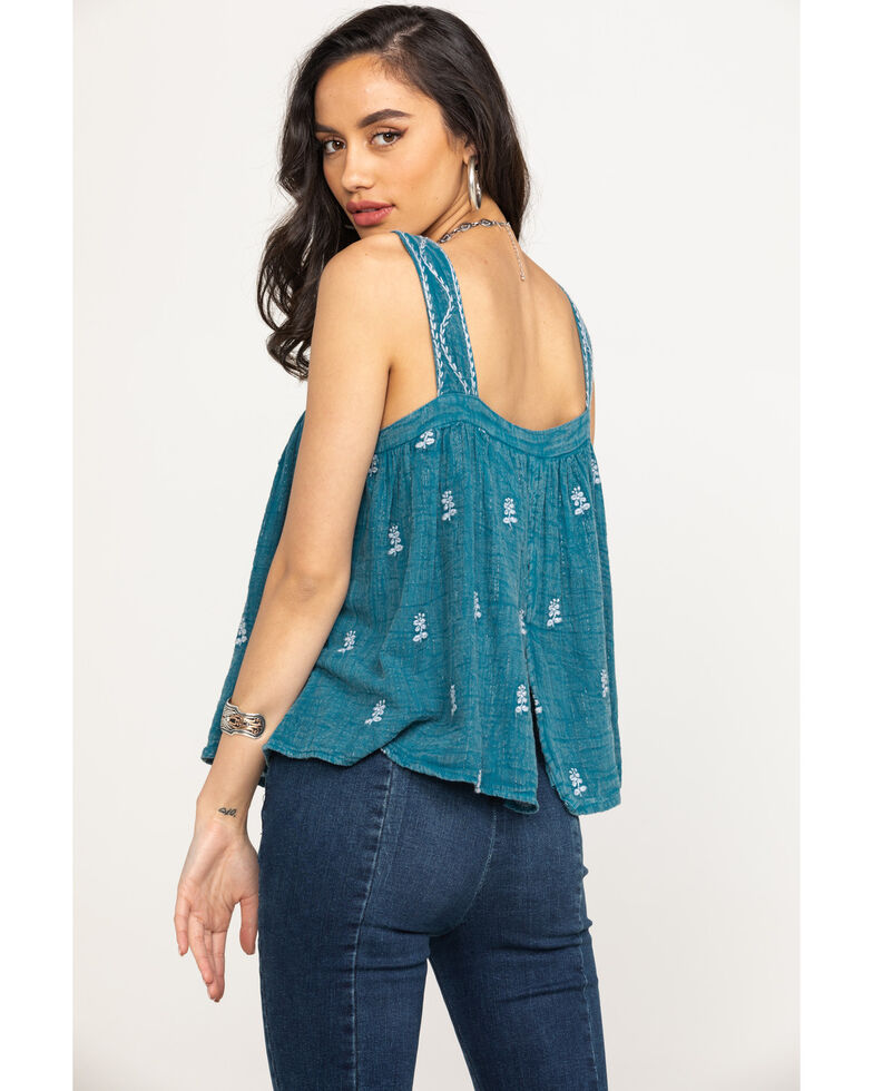 Miss Me Women's Blue Embroidered Tank Top, Blue, hi-res