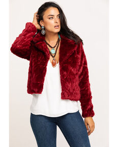 Black Swan Women's Burgundy Plush Perla Jacket , Burgundy, hi-res