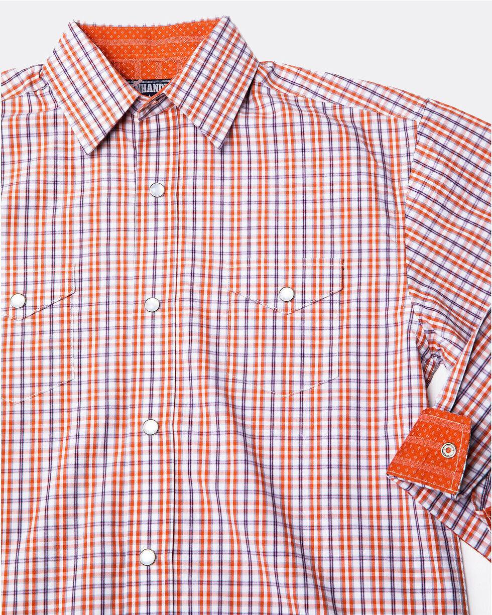 Panhandle Select Boys' Checkered Yarn Dye Small Plaid Long Sleeve Western Shirt , Rust Copper, hi-res