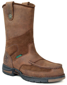 Georgia Athens Waterproof Wellington Work Boots - Round Toe, Brown, hi-res