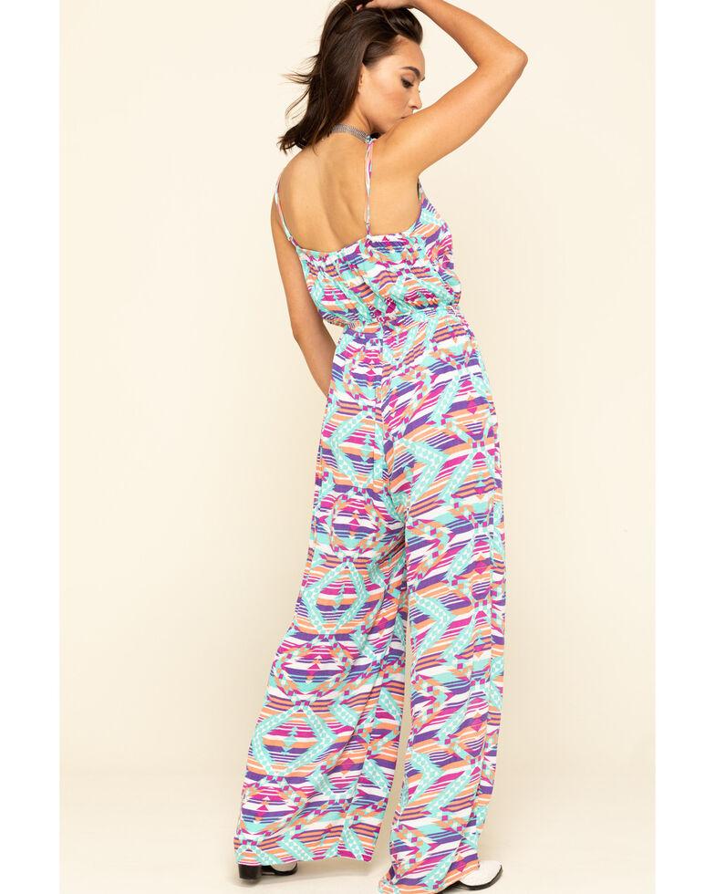 Rock & Roll Denim Women's Turquoise Aztec Stripe Jumpsuit , Turquoise, hi-res