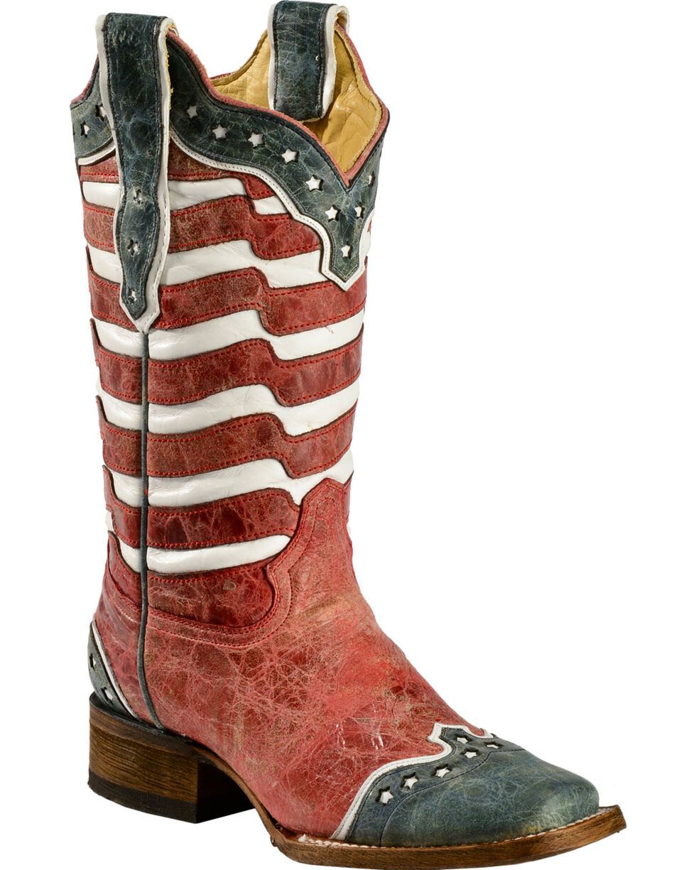 Corral American Flag Distressed Cowgirl Boots - Square Toe, Red, hi-res