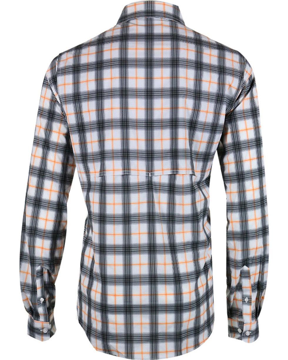 Cinch Men's Orange Plaid Double Pocket Shirt, White, hi-res