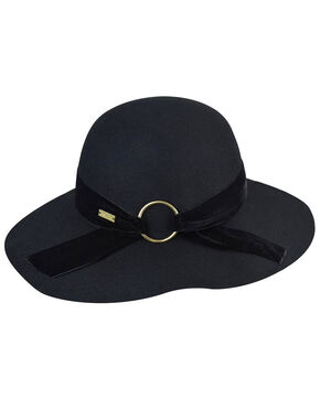 Betmar Women's Wharton Black Wide Brim Floppy Hat, Black, hi-res