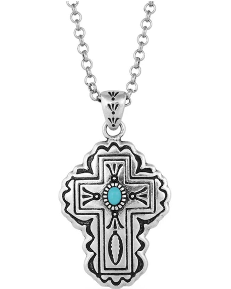 Montana Silversmiths Women's Cathedral Turquoise Silver Cross Necklace, Silver, hi-res