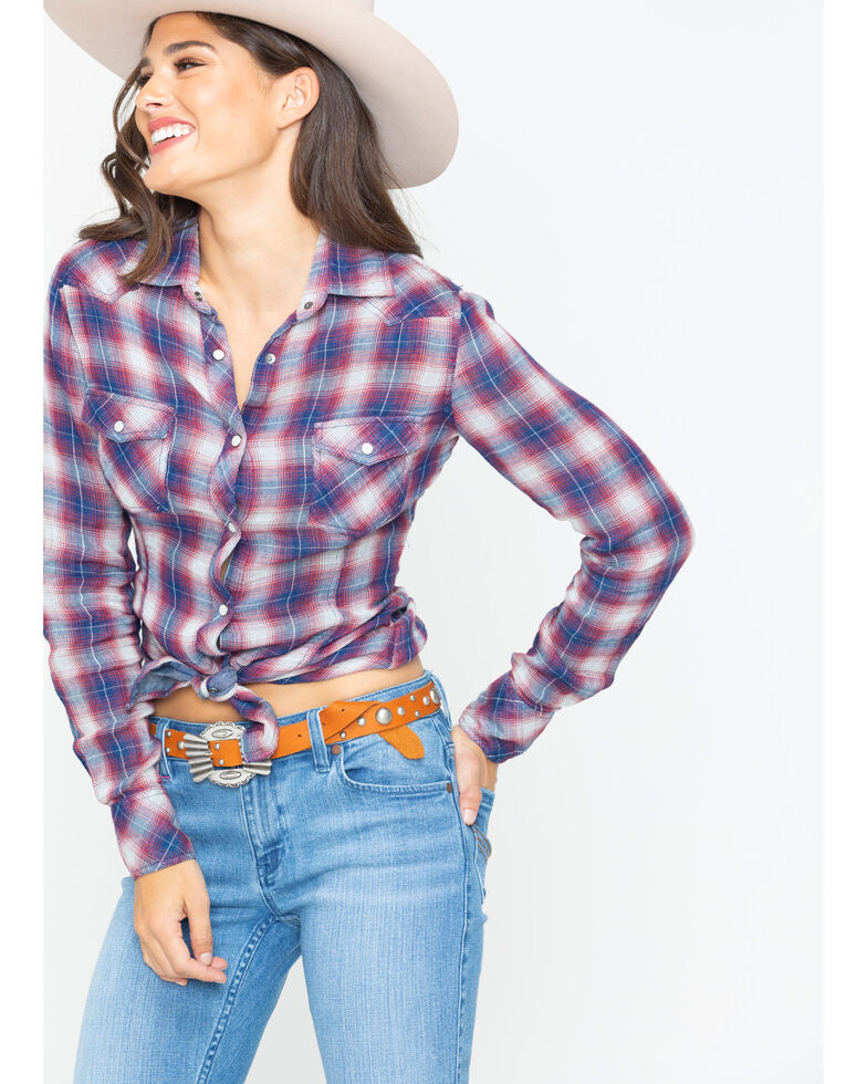 Rock & Roll Cowgirl Women's Plaid Chief Shirt , Red, hi-res