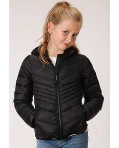Roper Girls' Black Lightweight Quilted Jacket, Black, hi-res