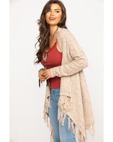 Wrangler Women's Oatmeal Heather Drape Front Tassel Cardigan, Natural, hi-res