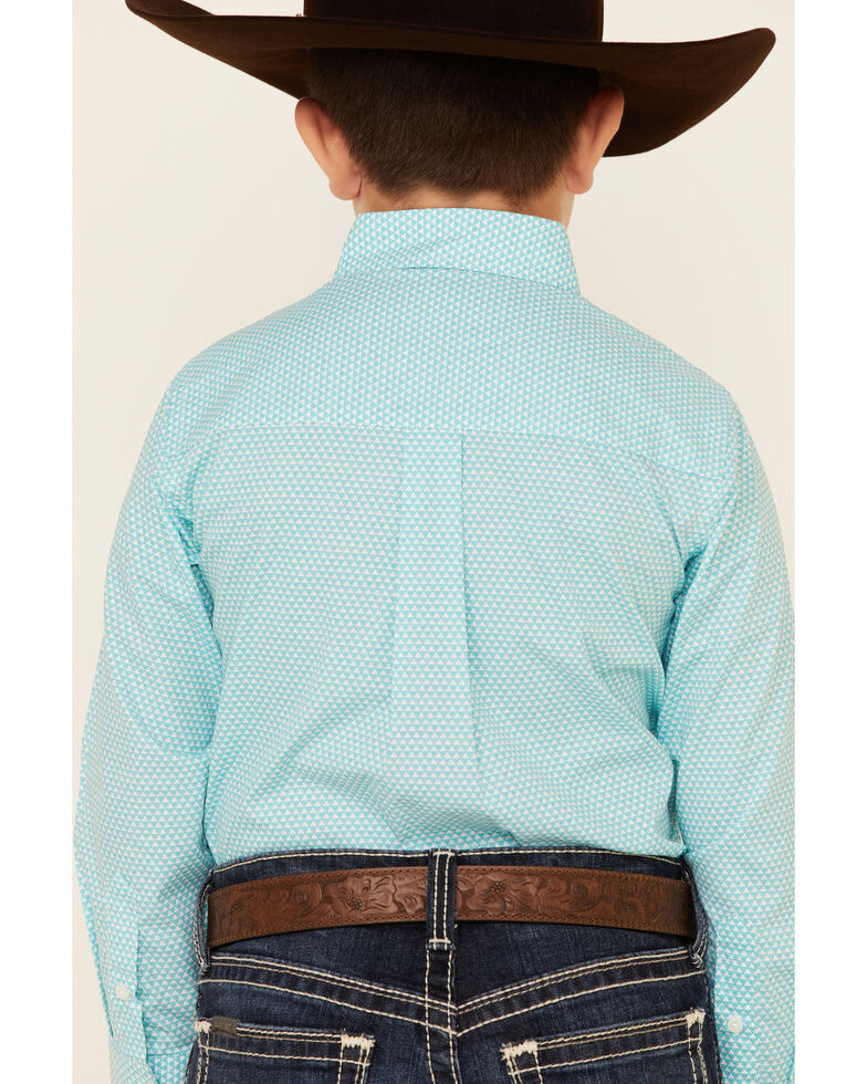 Wrangler Boys' Classic Multi Geo Print Long Sleeve Button Western Shirt , Multi, hi-res