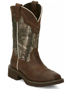 Justin Women's Raya Western Boots - Wide Square Toe, Brown, hi-res