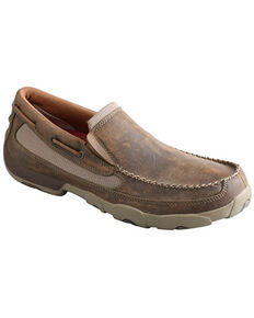 Twisted X Men's Slip-On Driving Shoes - Moc Toe, Brown, hi-res