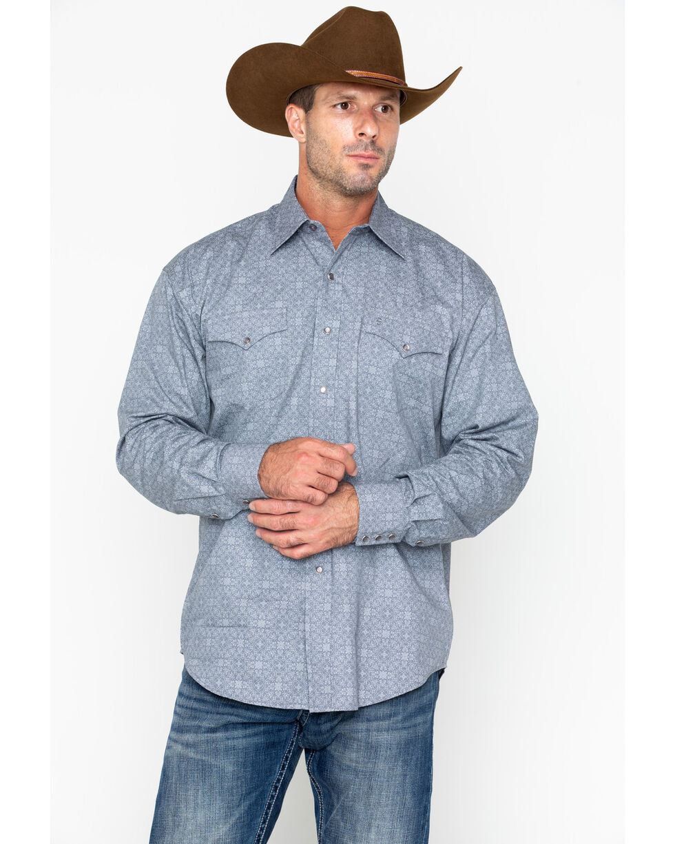 Roper Men's Grey Floral Print Long Sleeve Western Shirt, Grey, hi-res