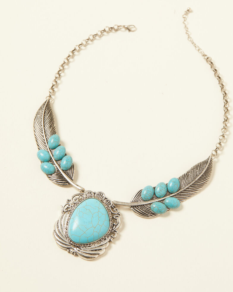 Shyanne Women's Turquoise Cross Feather Statement Bib Necklace, Silver, hi-res