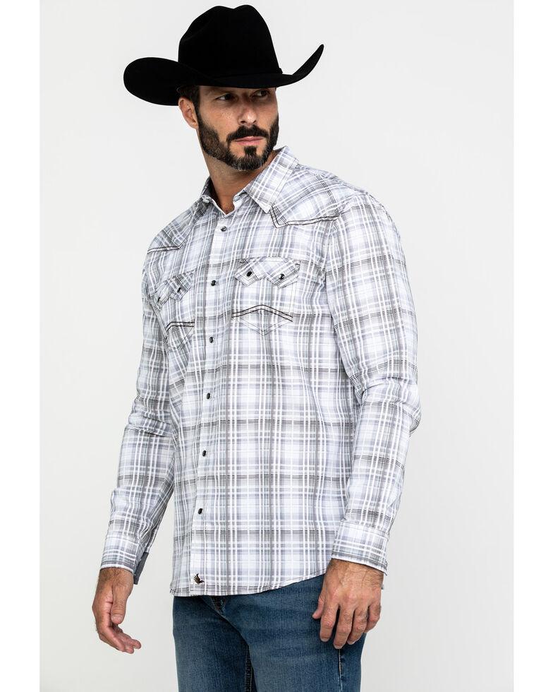 Cody James Men's Ghost Rider Plaid Long Sleeve Western Shirt , Grey, hi-res