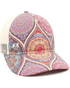 Ariat Women's Pink Stain Glass Print Mesh Ball Cap , Multi, hi-res