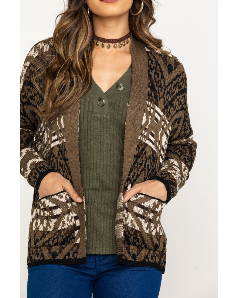 Rock & Roll Cowgirl Women's Aztec Open Front Cardigan, Camouflage, hi-res