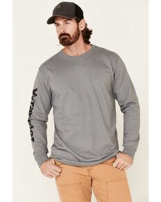 Wrangler FR Men's Grey Flag Skull Graphic Long Sleeve Work Shirt , Grey, hi-res