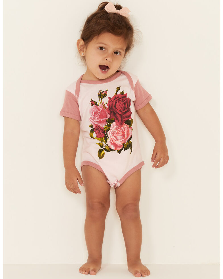 Rodeo Quincy Infant Girls' Lydie Lou Rose Graphic Short Sleeve Ringer Onesie , Pink, hi-res