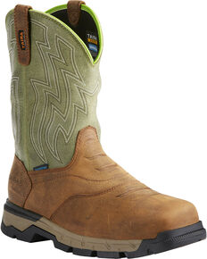 Ariat Men's Rebar Flex H2O Brown/Green Western Work Boots - Soft Toe, Tan, hi-res