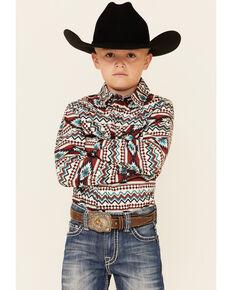 Cody James Boys' Mayan Aztec Stripe Long Sleeve Snap Western Shirt , Multi, hi-res
