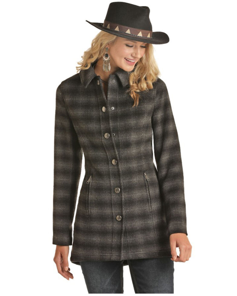Powder River Outfitters Women's Ombre Wool Twill Plaid Coat , Grey, hi-res
