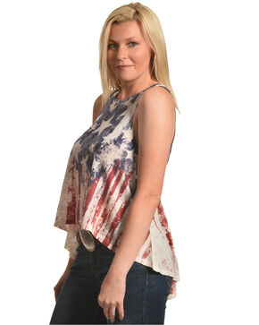 Moa Moa Women's Red, White, and Blue Distressed Flag Tank Top, Red/white/blue, hi-res