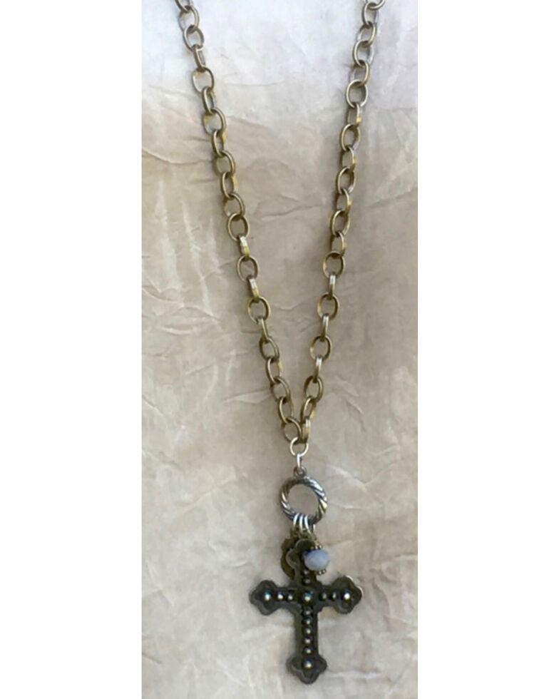 InspireDesigns Women's Iron Cross Cluster Long Necklace , Steel, hi-res
