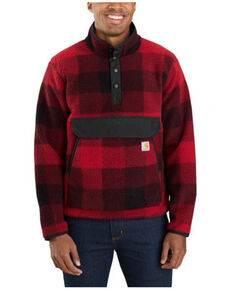 Carhartt Men's Oxblood Red Plaid Relaxed Fit 1/4 Snap Fleece Work Pullover , Red, hi-res