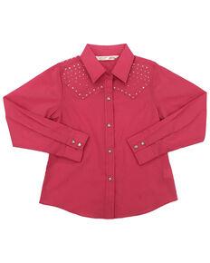 Cumberland Outfitters Girls' Pink Rhinestone Long Sleeve Western Shirt, Pink, hi-res