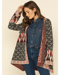 Flying Tomato Women's Multi Aztec Print Open Front Cardigan, Multi, hi-res