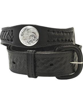 Western Express Men's Silver Concho Belt - Big, Black, hi-res
