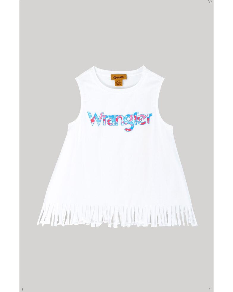 Wrangler Girls' Logo Fringe Tank Top, White, hi-res