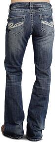 "Stetson Women's 816 Fit White ""S"" Stitch Bootcut Jeans, Denim, hi-res"