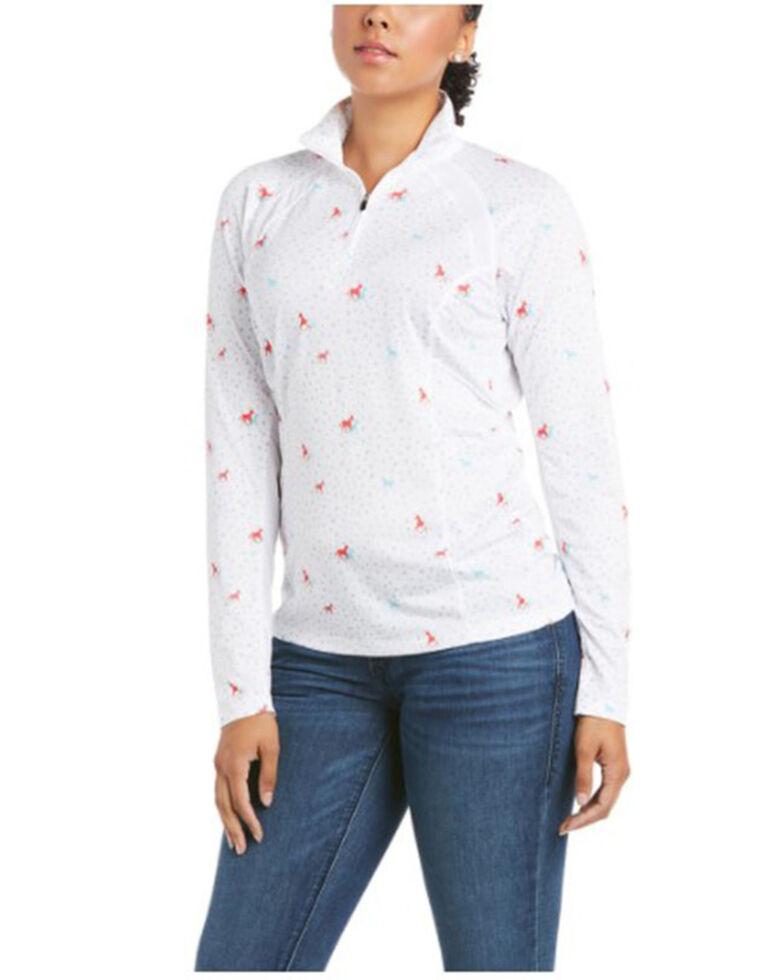 Ariat Women's Horses & Dots Print Sunstopper 2.0 1/4 Zip Pullover , Multi, hi-res