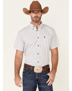 Cowboy Hardware Men's Little Zig Geo Print Short Sleeve Button-Down Western Shirt , White, hi-res