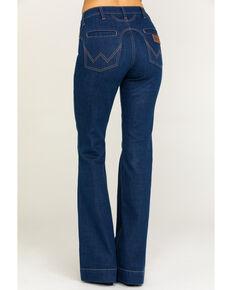 Wrangler Women's Modern Dark Western Yoke Flare River Jeans, Blue, hi-res