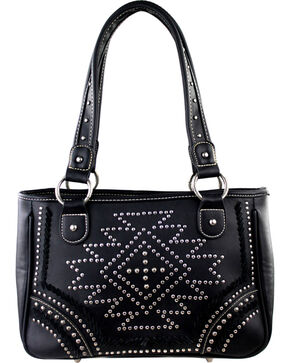 Montana West Southwestern Collection Tote, Black, hi-res