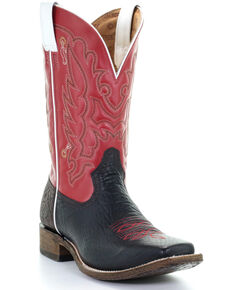 Corral Men's Red Embroidery Western Boots - Square Toe, Black/red, hi-res